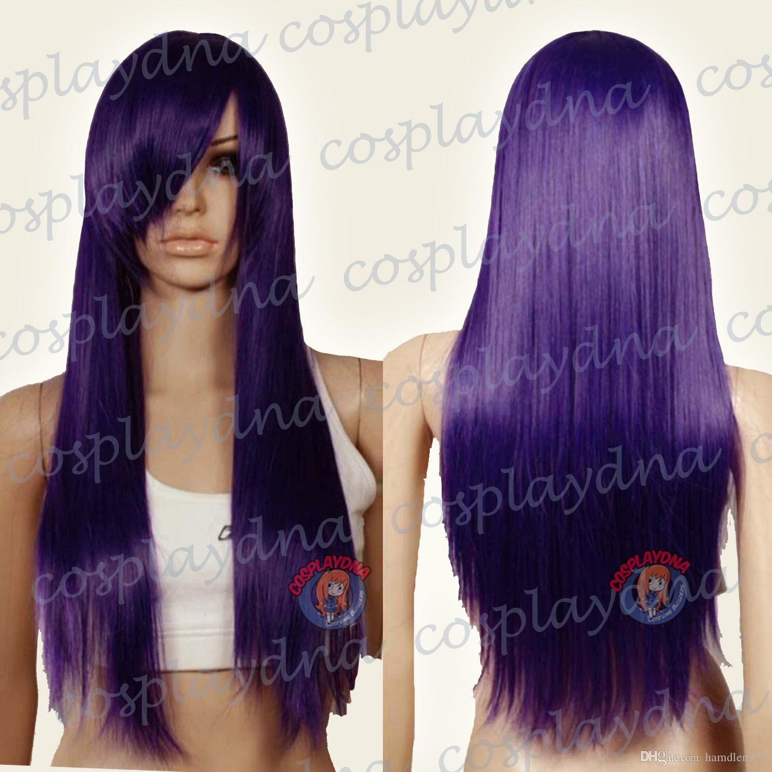 Free shipping>>>Heat Resistant Dark Purple Long Straight Cosplay Wigs with Side Bang