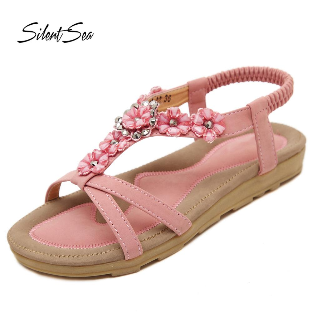 Women Shoes New Flower Casual Beach Design Silentsea Sandals Sweet 3lKuFJc5T1