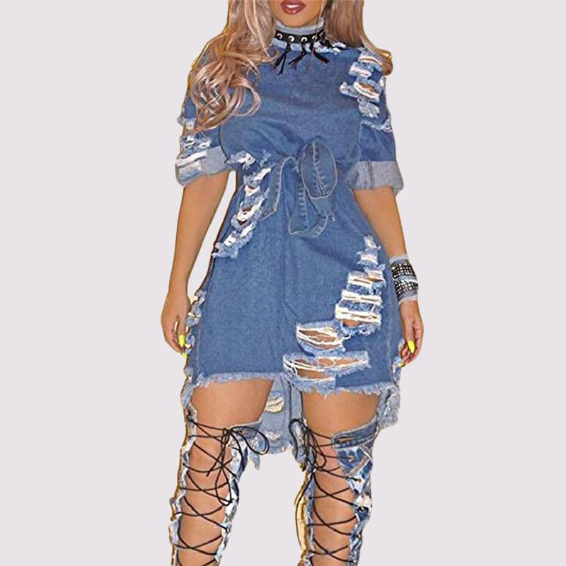 99bb9c00ce 2019 Women S Sexy Destroyed Jeans Dress Short Sleeve BF Style Ripped  Distressed Hole Clubwear Party Blue Denim Dress From Begonier