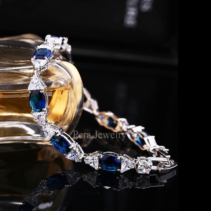 Pera De Luxe Mariage De Mariée CZ Bijoux Effacer Blanc Pierre Connecté De Mode Bracelets En Argent Sterling Bracelet Pour Demoiselle D'honneur B036