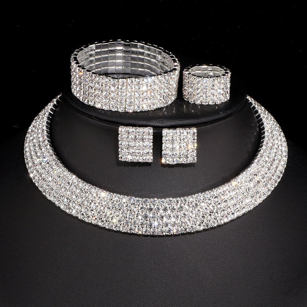 Set di gioielli da sposa di cristallo romantico di lusso set di anelli da sposa orecchini di braccialetti di colore argento le donne W001