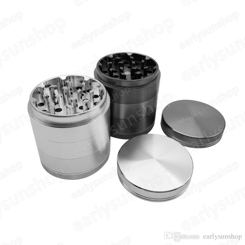 Creativa lisa brillante oro plata aleación de zinc de metal molino de hierba de especias amoladora de tabaco tabaco especia trituradora de accesorios