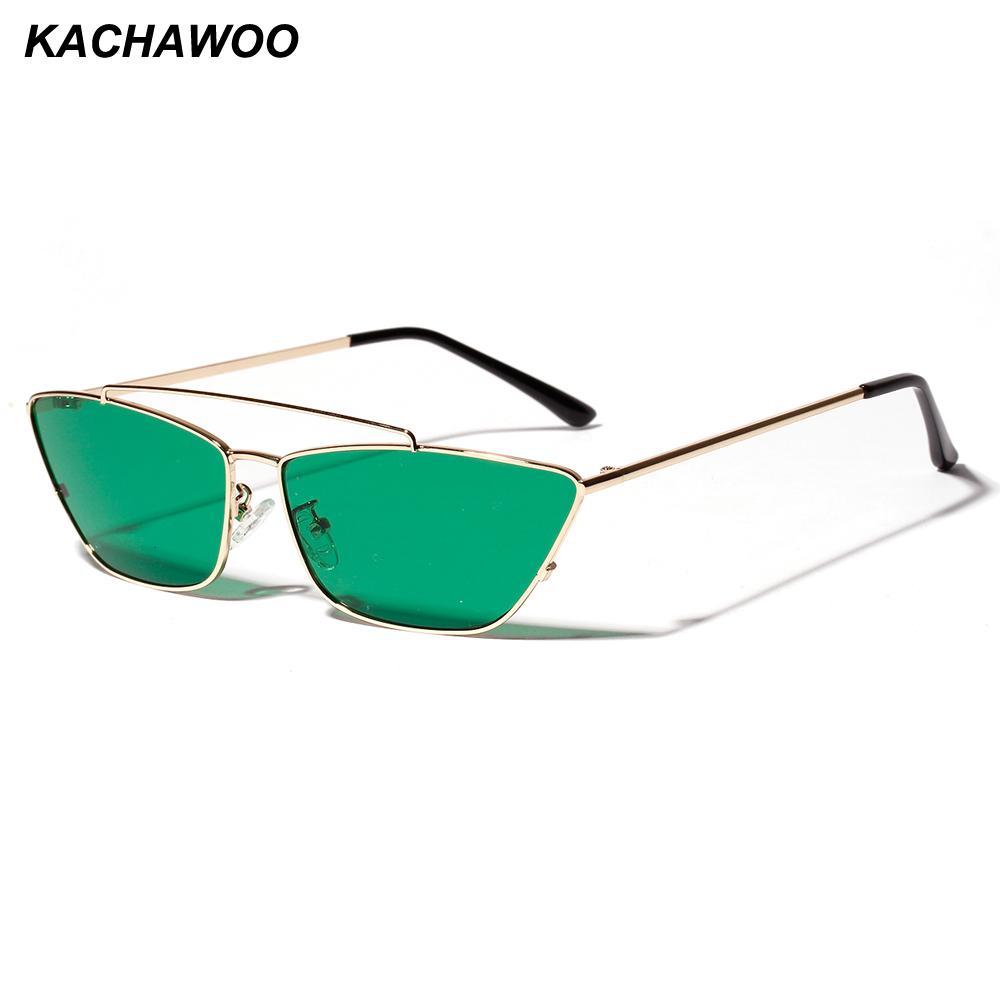 5cb9223395 Kachawoo signore cat eye occhiali da sole lenti verdi piccola montatura in  metallo nero moda donna occhiali da sole quadrati 2019