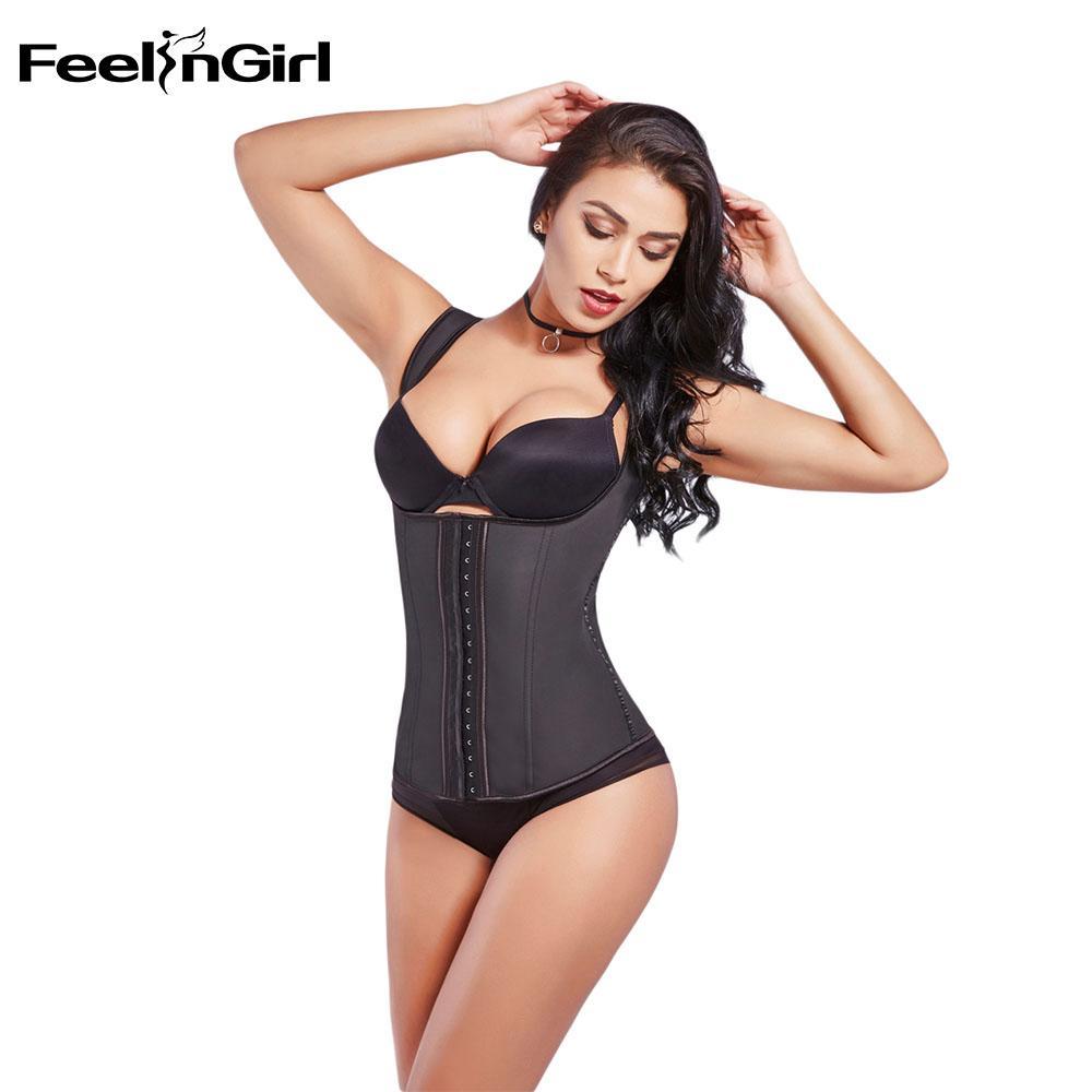 f4089571f95 2019 FeelinGirl Latex Waist Cincher Vest Chest Binder Body Shaper For Women  Corset Slimming Plus Size 6XL Push Up Waist Trainer From Yuhuicuo