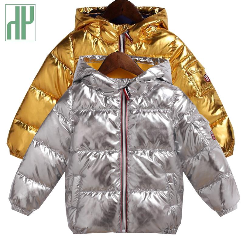 8499f92cb HH Children Winter Coat For Kids Silver Gold Boys Casual Hooded Coat ...