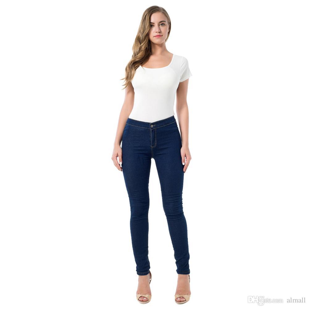 2fdd24f5d9e6b 2019 Hot Sale Slim Jeans For Women Skinny High Waist Jeans Women Denim  Pencil Pants Elastic Women Jeans Navy Blue From Almall