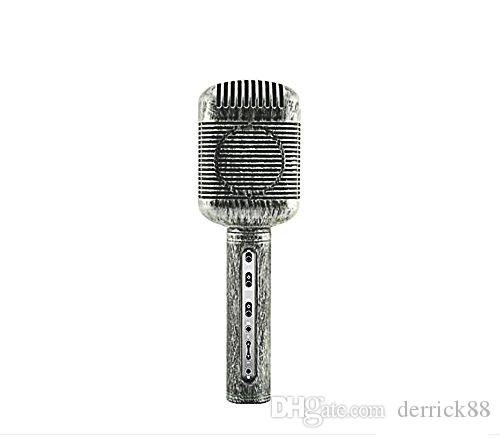 Retro Wirelss Bluetooth Karaoke Condenser Microphone MIC with Built-in HD Speaker Noise Canceling for Studio Broadcasting Youtube Podcasting