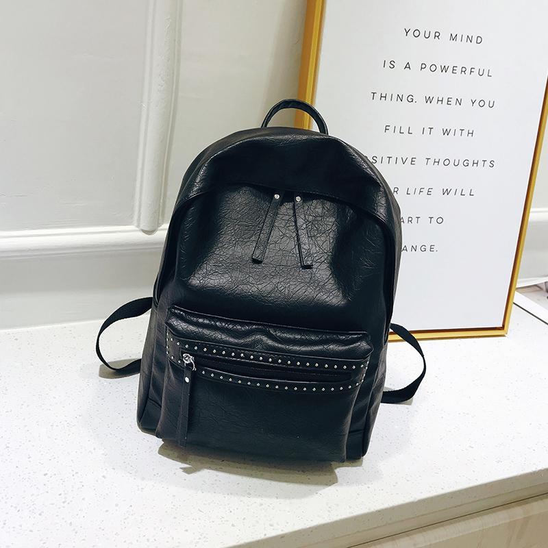 bbea64eb1c44 Fashion Backpack Female Large School Bag For Girls Leather Backpacks Womens  Back Pack For Women Simple Shoulder Bag Wheeled Backpacks Leather Backpacks  From ...