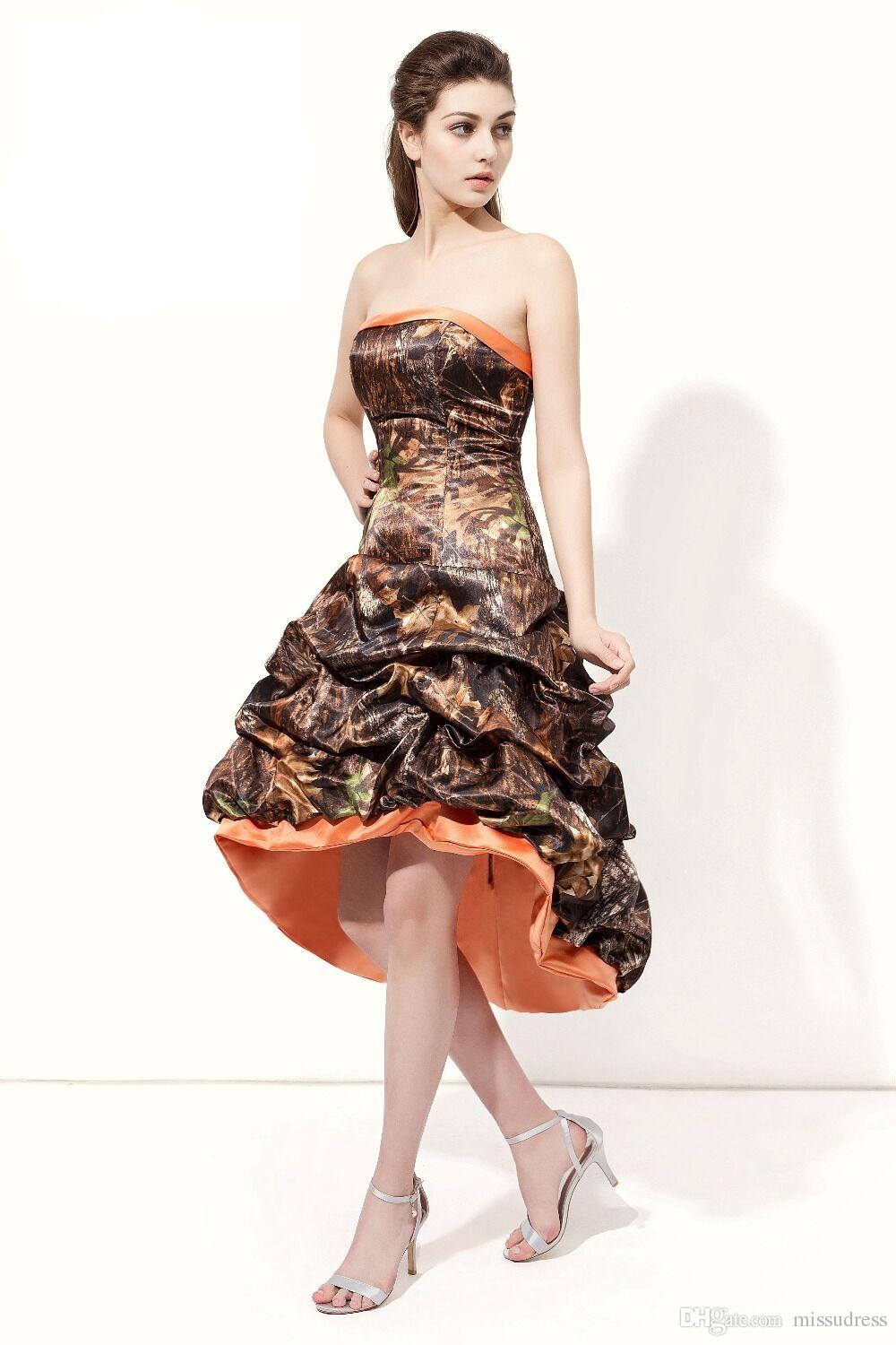 Camo Prom Dresses Strapless High Low Prom Gowns camouflage Sleeveless Strapless Evening Dress For Women 2018 Real photos