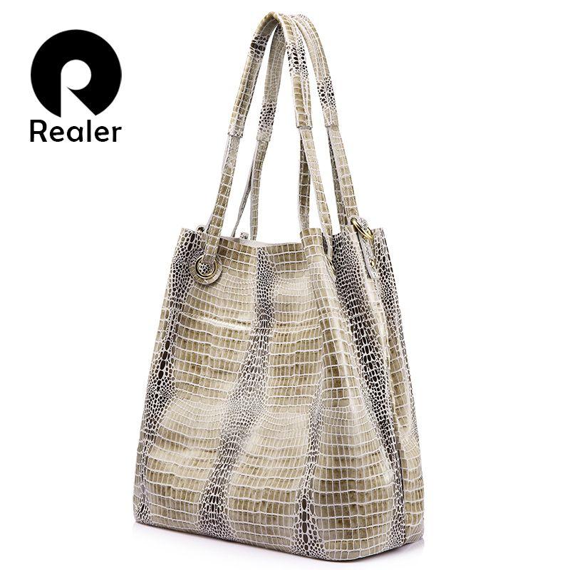 e67d3a20c0dd Realer Brand Women Genuine Leather Handbag Extra Large Capacity Shoulder  Bag Female Fashion Serpentine Print Leather Tote Bag Designer Bags Ladies  Handbags ...