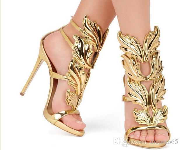 2018 дизайнер женщин металлический лист крыло высокий каблук сандалии золото ню черный партия события обувь Гладиатор металлические крылатые сандалии