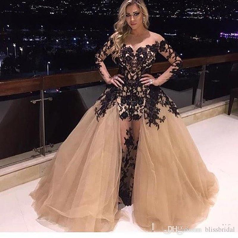 c65859e22d3 Champagne Tulle And Black Lace Prom Dresses Gorgeous Detachable Train  Applique Long Sleeve Party Dress Sexy Fashion Mermaid Evening Gowns Betsy  And Adam ...