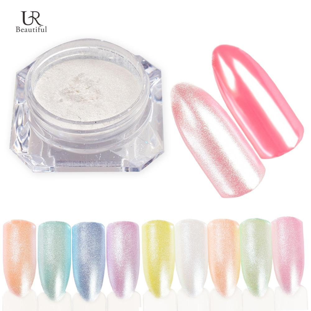 1 Box 1g Shining Nail Glitter Pearl Powder Shimmer Mermaid Nail Dust ...