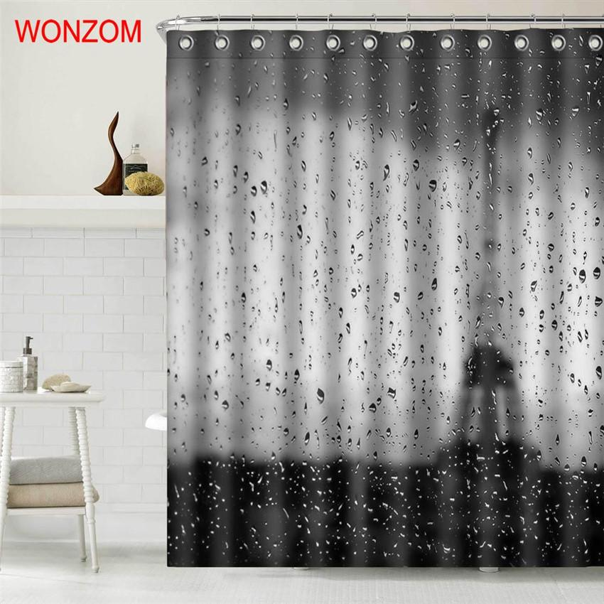 2019 WONZOM Rain Eiffel Tower Polyester Fabric Paris Shower Curtain Bathroom Decor Waterproof Cortina De Bano With Hooks 2017 Gift From Kunnylight