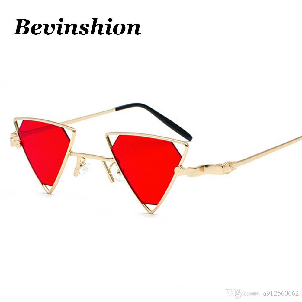 b4052927600 New Year 2018 Gothic Steampunk Sunglasses Women Punk Cat Eye Triangle Sun  Glasses For Men Hollow Metal Frame Gradient Red Pink Sunglasses Hut Reading  ...