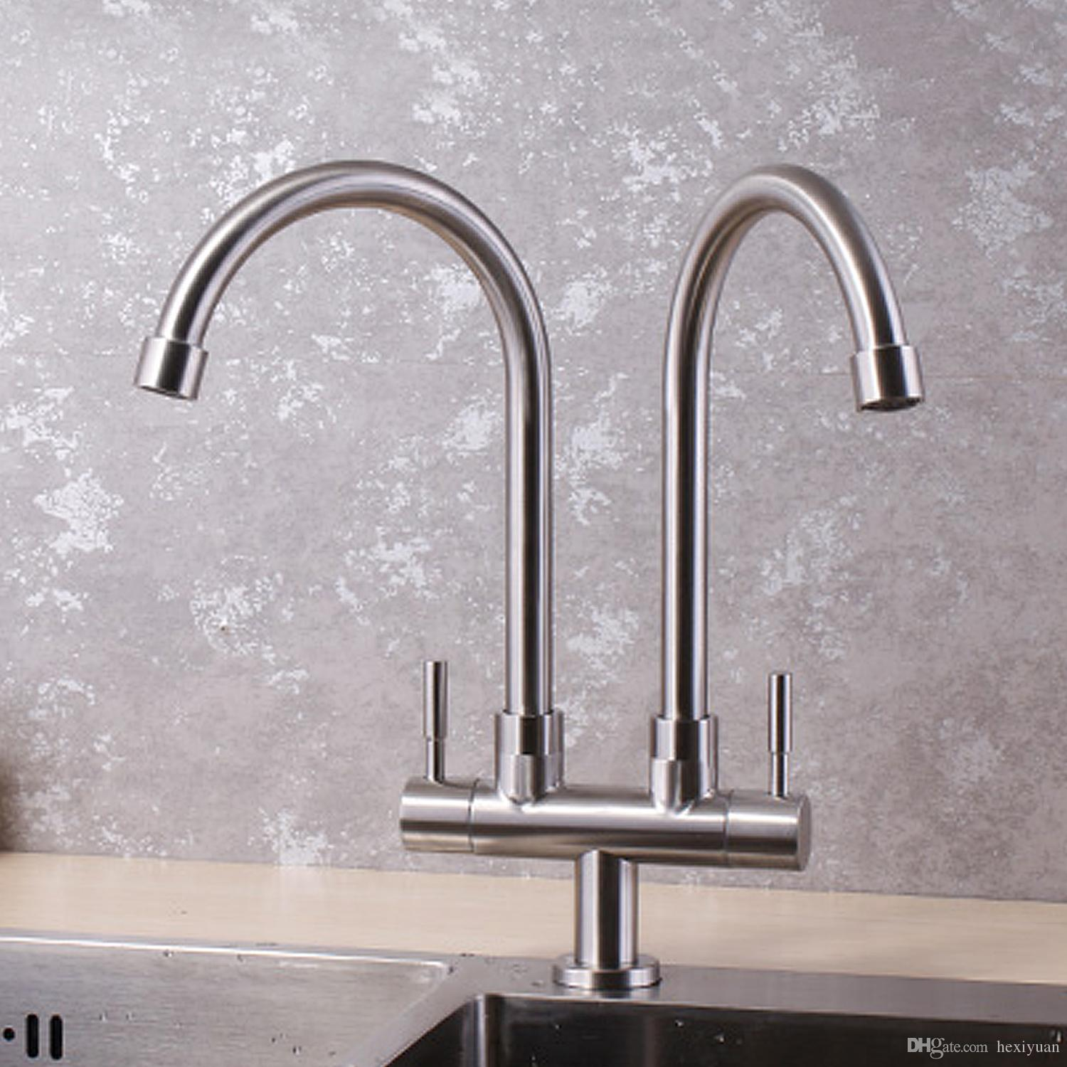 2018 304 stainless steel kitchen faucet single cold wall double tube sink faucet from hexiyuan 56 29 dhgate com