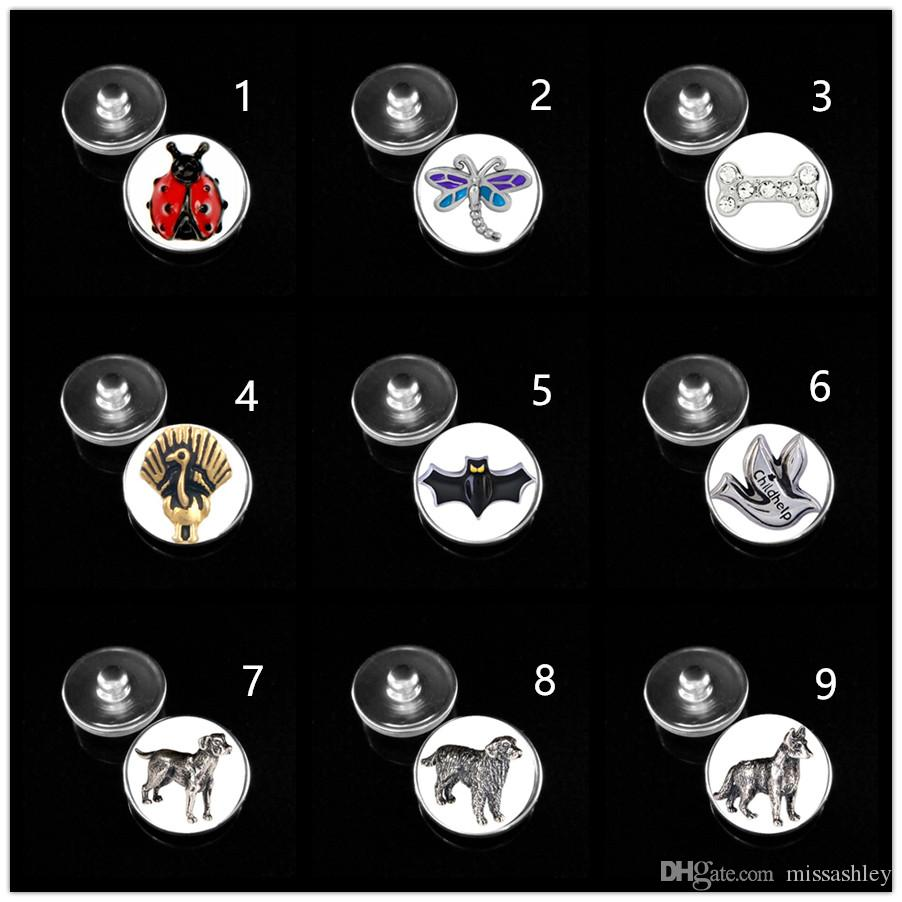 10 design dragonfly pet dog 18 mm glass print ginger snap button jewelry luxurious alloy bottom fit 18 mm snaps bracelets best gifts