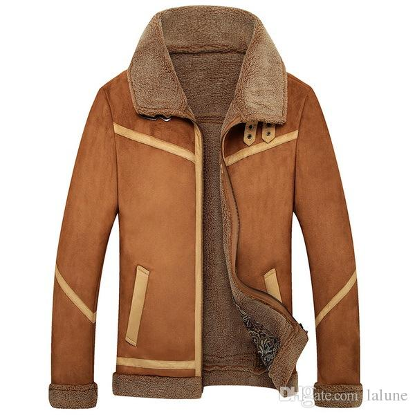 f1b52ee49a05 2019 Men Suede Leather Jackets New Winter Fur Coats Vintage Camel ...