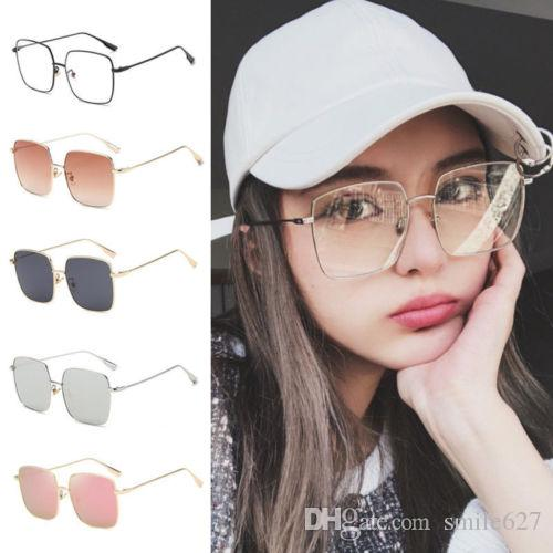 59bcf4e685 Square Metal Eyeglass Frame Clear Lens Glasses Women Men Oversized Sunglasses  Square Metal Eyeglass Clear Lens Glasses Oversized Sunglasses Online with  ...