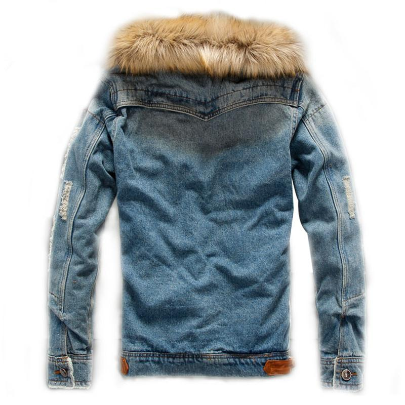 da8373f1 Mens Denim Jacket With Fur Collar Retro Ripped Fleece Jeans Jacket And Coat  For Autumn Winter Fashion Male