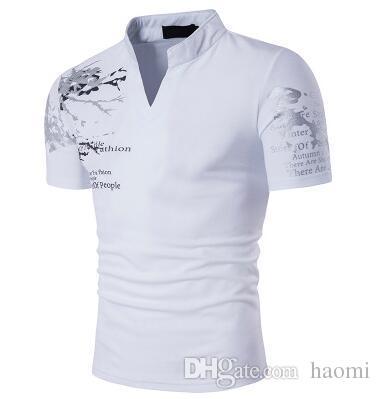 8863446e8 New Fashion Brand Men's T Shirt Trend Print Slim Tee V-Neck Casual ...