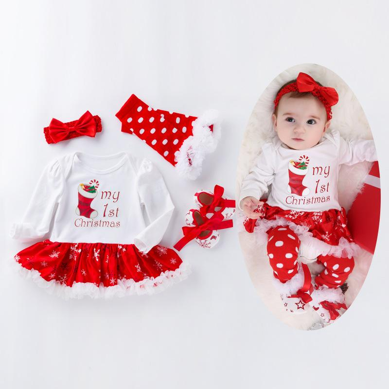 Christmas Baby Rompers TUTU Long Sleeved Santa Claus Infant Jumpsuit+Socks+Headbands+First Walker shoes Sets 0-2T Girls Clothing Retail S98