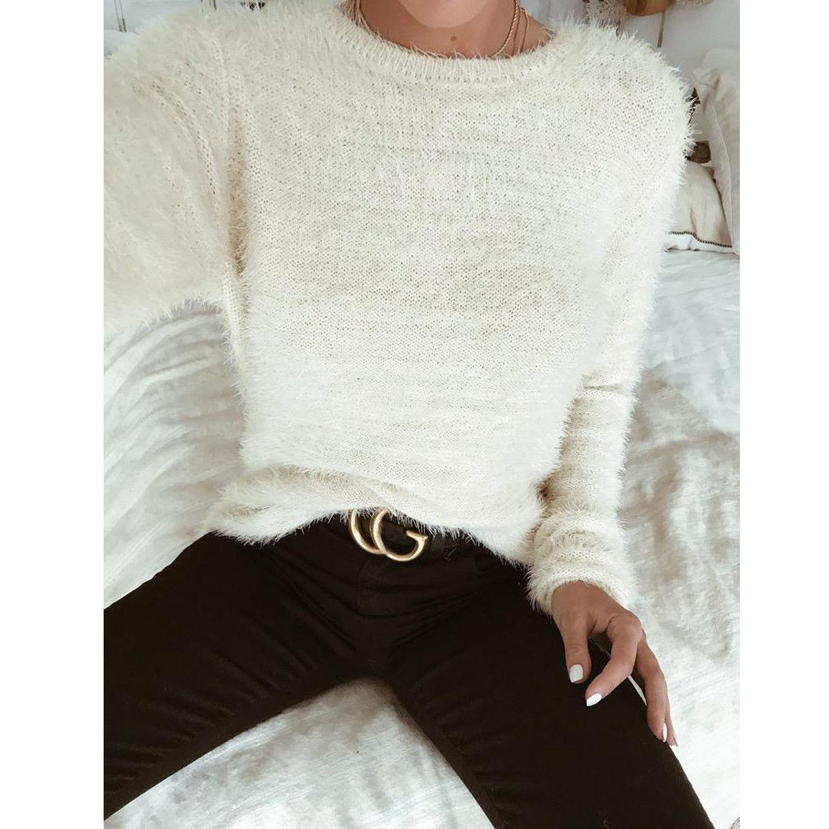 912a4195f12 2018 New Autumn Winter Women Casual Sweaters 2 Style Long Sleeve Pullover  Fur Solid Slim Warm Sweaters Tops Online with  30.35 Piece on Qinfeng10 s  Store ...