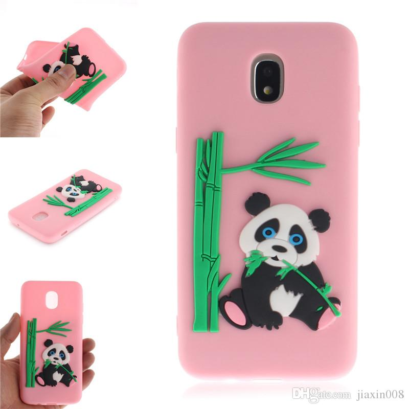 big sale d3100 2e0c2 Fashion Cover For Samsung Galaxy J3 2018 Case Coque Candy Silicone Panda  bamboo Soft silica gel Phone Cases Shell Covers