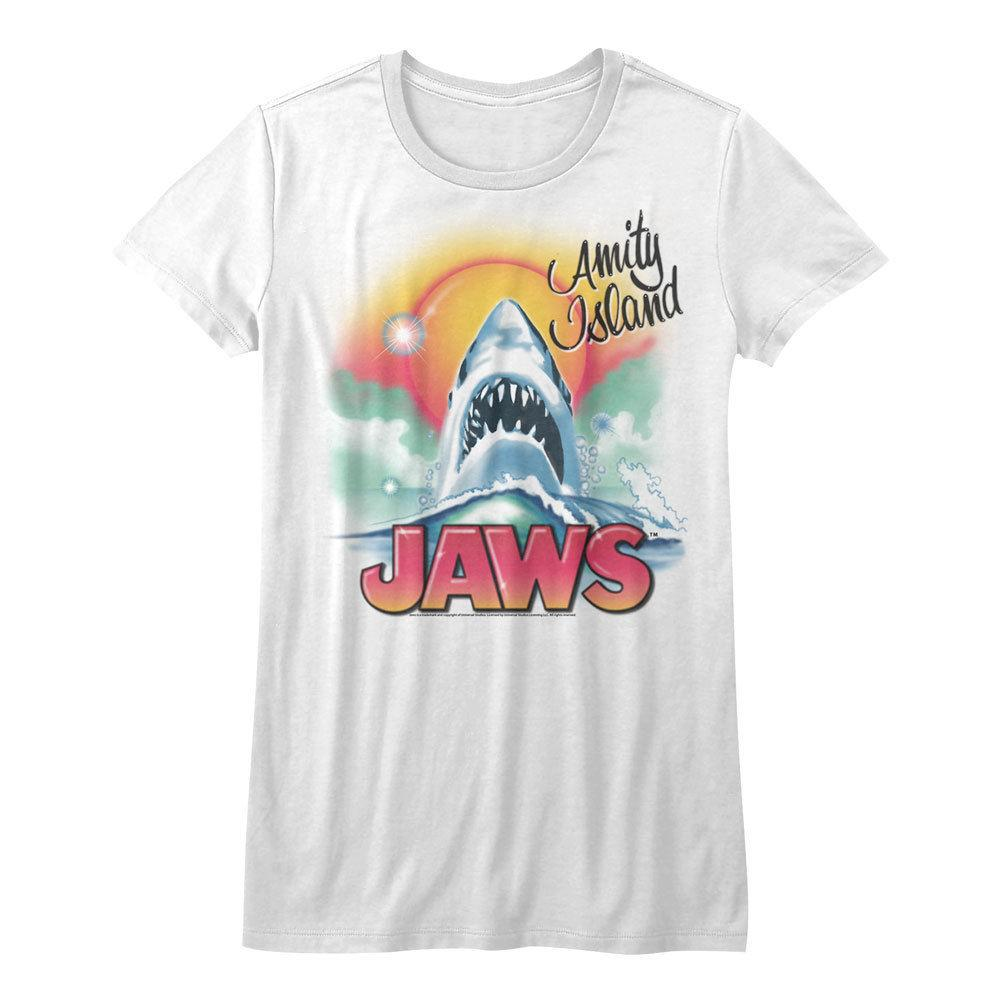 Jaws Beachy Airbrush Licensed Junior T Shirt Shirts Design Online T