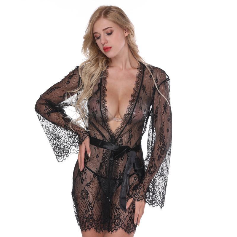 9e02c9b3f7450 NINGMI Sexy Robe Lingerie Nightgown Erotic Underwear Nightdress Sex  Costumes Babydolls G String Silk Satin Lace Kimono Sleepwear Y1892909 Ladies  In Sexy ...