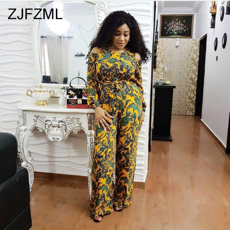 159bc2c7ce3a8 2019 ZJFZML Plus Size Floral Print Jumpsuits Women Cold Shoulder Wide Leg  Maxi Rompers With Belt Winter Full Sleeve Causal Overalls From Wangleme0