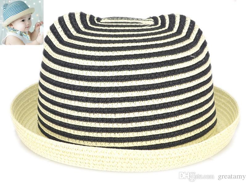 Children cap sunhat visor baby girl boy cartoon cat ears straw cap kids summer beach bucket hat baby boys sun hats cap