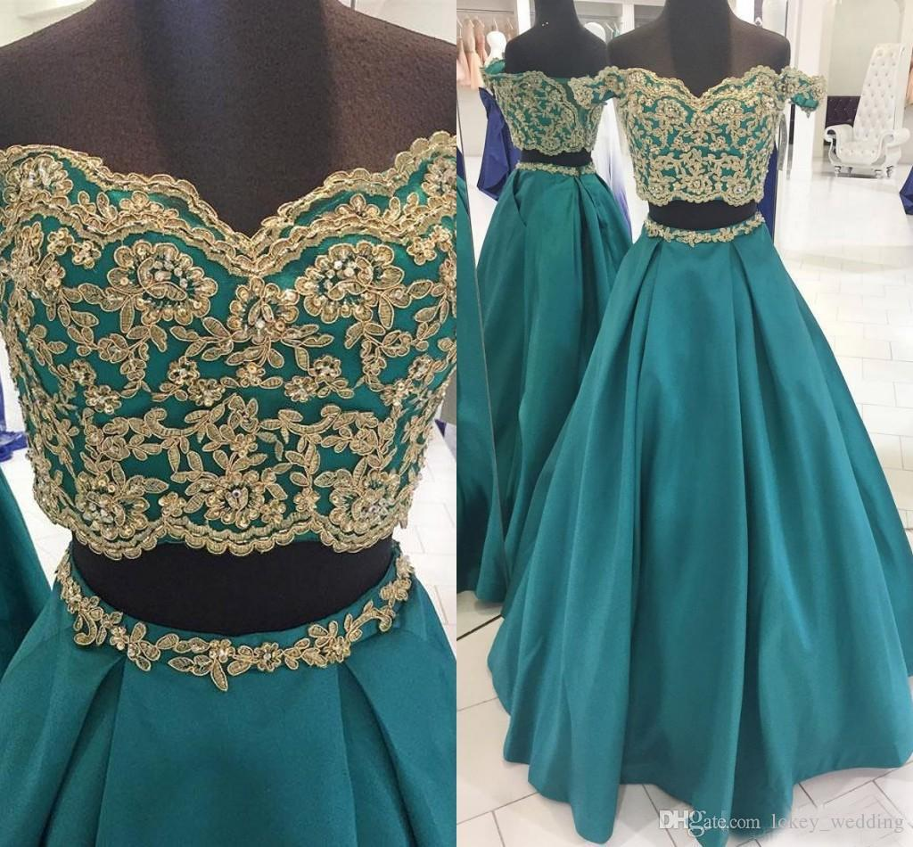 34111c9f55aa 2018 Satin Off Shoulder Gold Lace Appluque Long Prom Dress Two Pieces Short Sleeves  Floor Length Corset Back Evening Formal Pageant Dresses Formal Dresses ...
