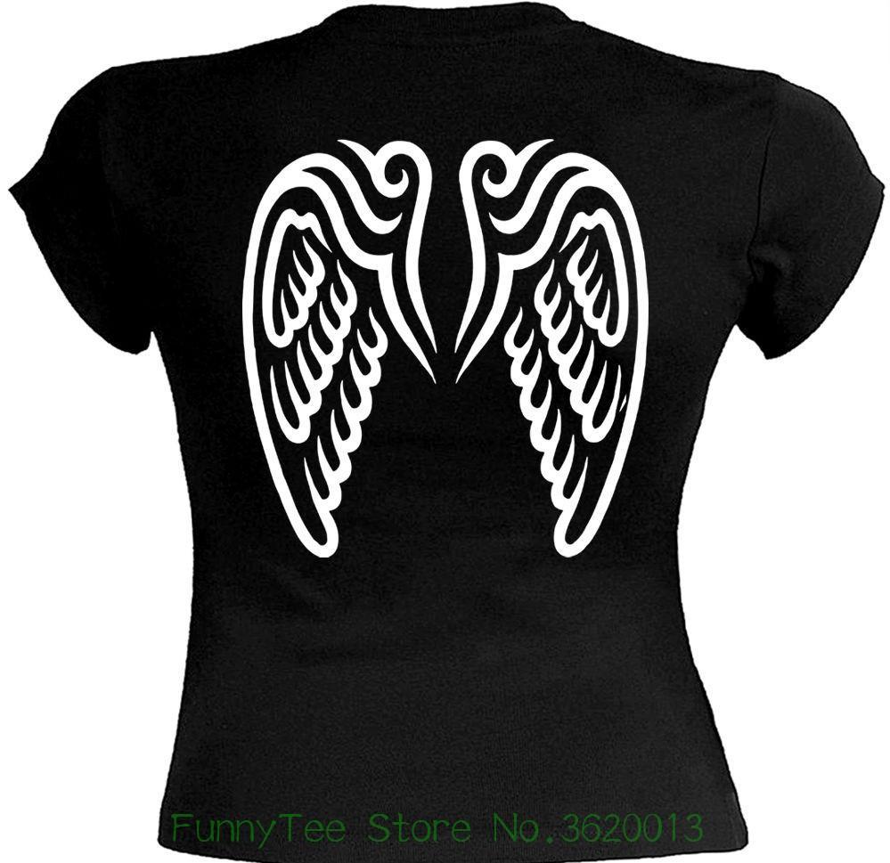 Women S Tee T Shirt Femme Ailes Ange Angel Wings Tattoo Tatouage
