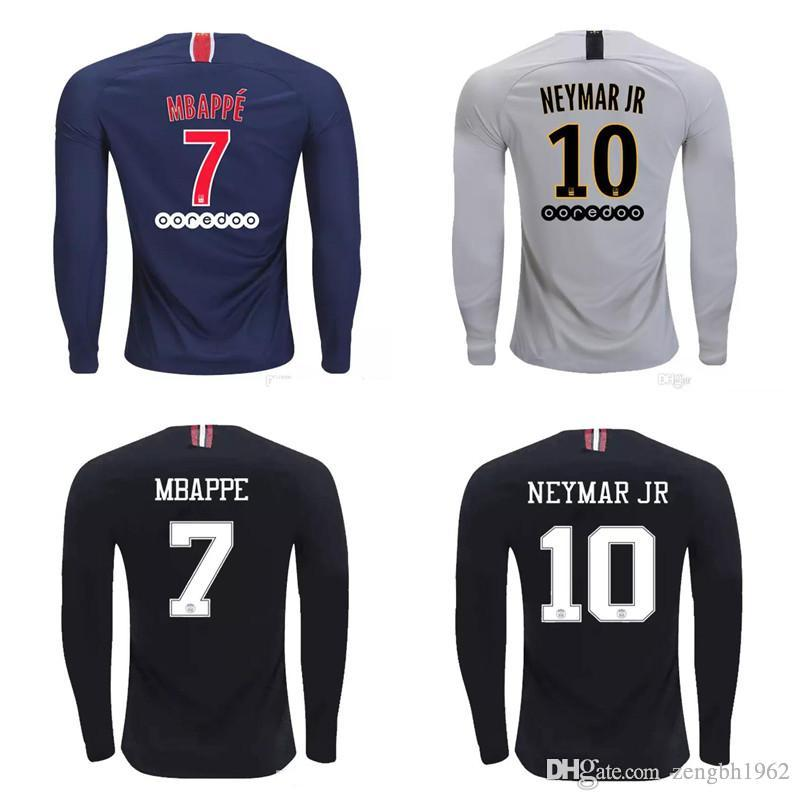 4c6b6a1044c Thai 18 19 PSG long sleeve soccer jerseys CAVANI third maillot MBAPPE  football shirt 2018 2019 NEYMAR JR jersey paris maillot de foot