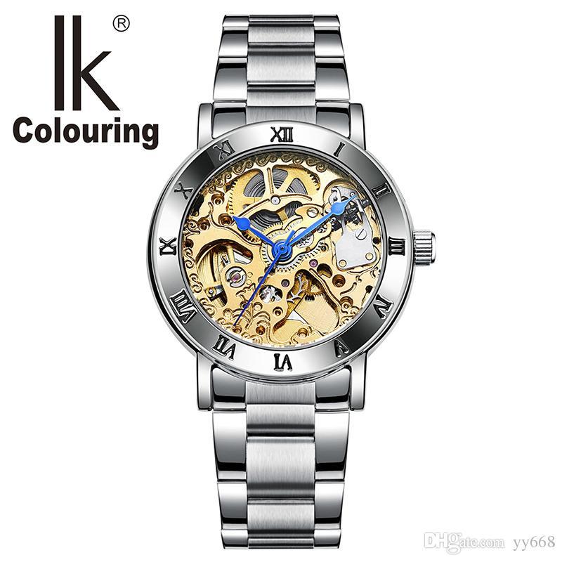 6171a8a6f07 Compre Relogio Feminino Senhoras Esqueleto Automático Relógios Mulheres Tom  De Ouro Relógios Mecânicos Famosa Marca Top IK Colorir Relógios De Yy668