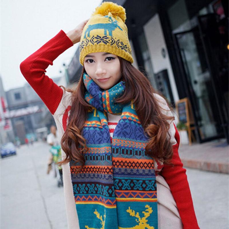 2018 New Fashion Women Scarf  Hat Sets Reindeer Pattern Winter Warm ... f1f9b9b89ca1