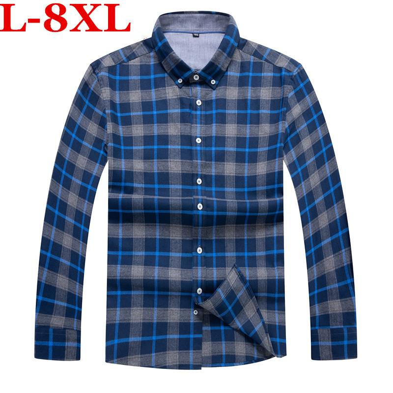 533d2c7e210 2019 Plus Size 8XL 7XL Red And Blue Plaid Shirt Men Shirts 2018 New Chemise  Homme Mens Checkered Shirts Long Sleeve Shirt Men Blouse From Cyril03