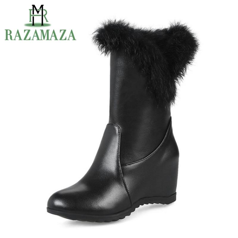 1fb6785734a3 RAZAMAZA Women Wedges Snow Boots Fashion Winter Women S Shoes Keep Warm Fur  Inside Heels Boots Round Toe Footwear Size 34 43 Chukka Boots Men Slipper  Boots ...