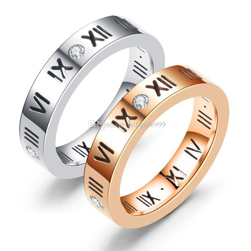 Mens Rings Stainless Steel Ring For Men Women Gifts New Arrival Fashion Zircon Roman Numerals Couple Ring