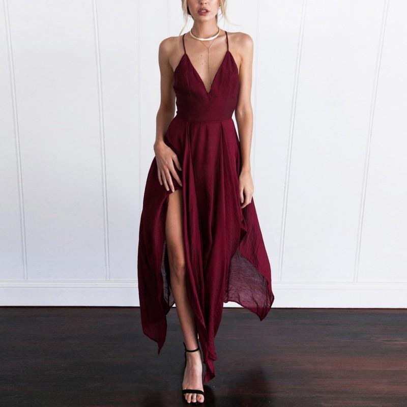 Liva Girl Sexy Summer Long Dress Women 2018 Elegant Sleeveless Sling  Vestido V Neck Evening Party Maxi Dress Boho Beach Dress D1891305 Evening  Dresses With ... 25c1fcfdec94