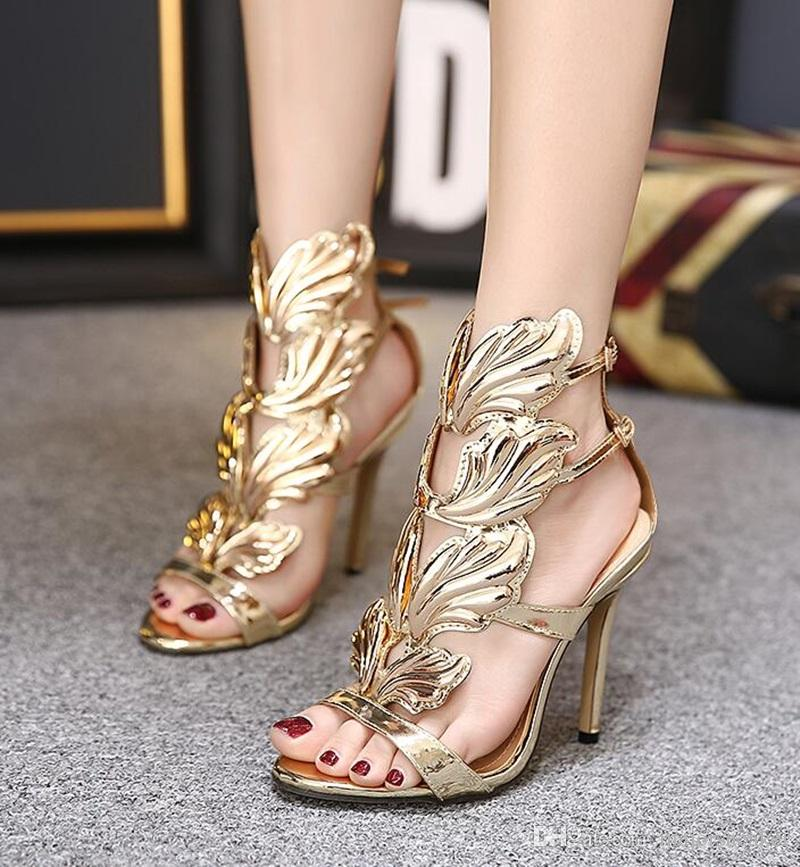 5012c464268 Amazing Lady Angel Wings Black Nude Thin High Heels Sandals Gladiator Rome  Wedge Women Golden Leaf Leather Pumps Shoes Discount Gold Wedges Red Wedges  From ...