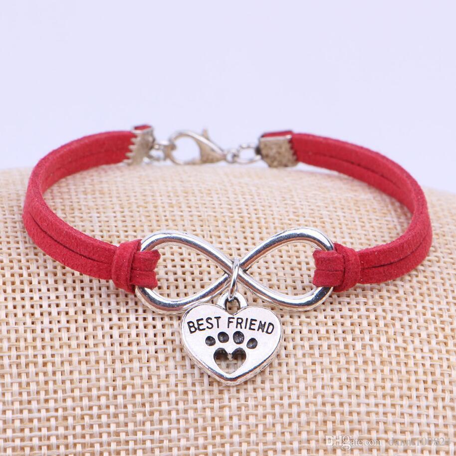 Fashion Jewelry Ancient Silver Dog Paw Best Friend Cat Charm Bracelet Jewelry Mixed Velvet Rope Infinity Bangles Bijoux Women Gift A6