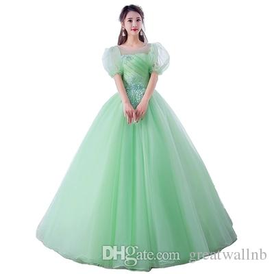 1a1cc1ca3ee84 luxury light green/pink bubble sleeve ball gown medieval dress cartoon  princess Medieval Renaissance Gown queen cosplay Victoria dress