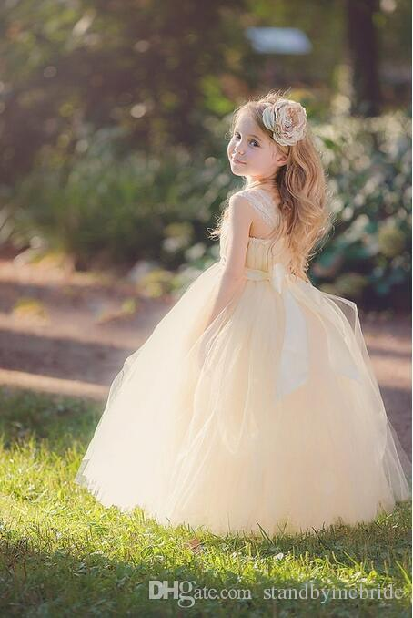 New Hot Sale Flower Girl Dress Strapless Flowers Girls Dresses Ball Gown Pink Tulle First Communion Gowns Kids Formal Pageant Dress
