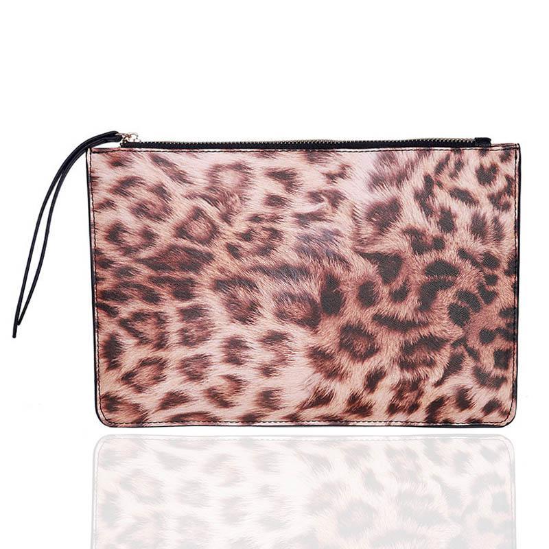 Badiya Leopard Print casual Women Bags Zipper Design Ladies Clutch Bag PU Leather Envelope Bags For Women Female