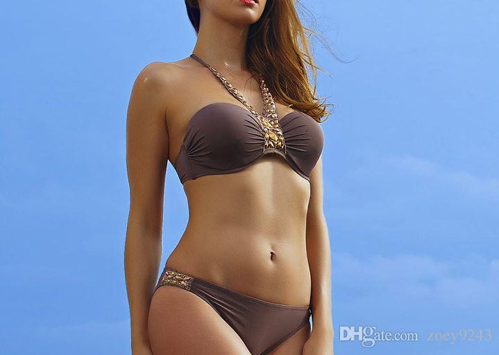 2018 coffee color, new product hot spot collection of sexy European and American style swimsuit steel swimsuit .