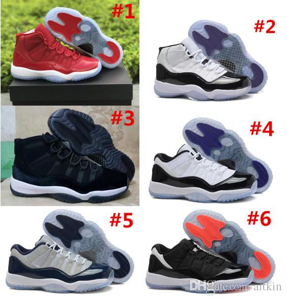 11 Basketball Shoes 2018 j 11s High Quality concord red blue space jam 45 XI big girls size 36-40 kids Sneakers