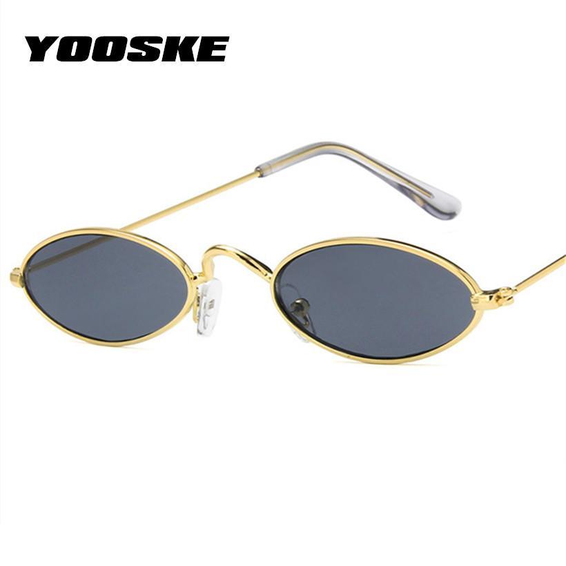 2719e68abb YOOSKE Small Oval Sunglasses for Men Women Brand Designer Vintage ...