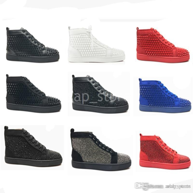 3d1c43b0647 Fashion Designer Brand Studded Spikes Flats Shoes Red Bottom Shoes ...